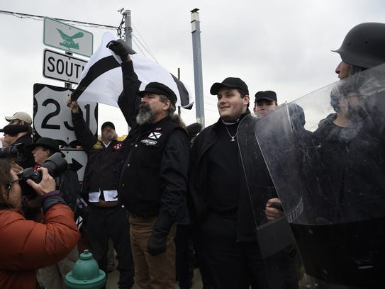 White Lives Matter protesters in Shelbyville, Tennessee,