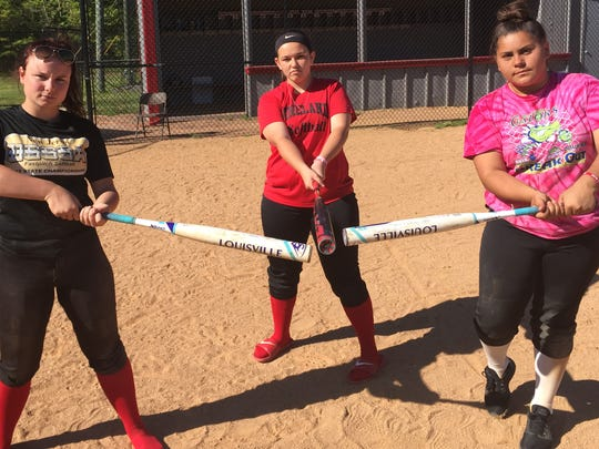 Vineland's Alyse Jackson (left to right), Korie Hague and Shianne Bermudez have provided plenty of offensive firepower for the Fighting Clan this spring.