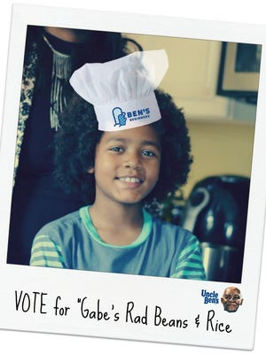 Gabe Blake has entered his 'Rad' Beans and Rice dish in the Uncle Ben's Brand Ben's Beginners Cooking Contest.