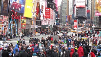 A crowd fills Times Square in March 2017.