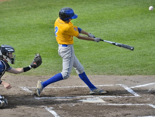 St. Cloud Cathedral's Nathan Giambruno (2) drives the