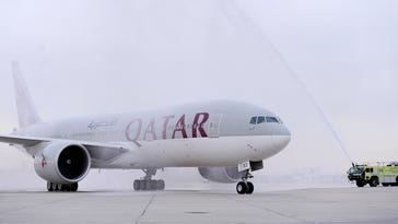 Water-cannon salutes a tradition for special airline flights