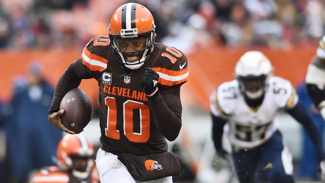 Cleveland Browns quarterback Robert Griffin III (10) runs the ball during the first half against the San Diego Chargers at FirstEnergy Stadium.