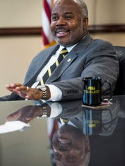 New Alabama State University President Quinton Ross talks on the ASU campus in Montgomery, Ala., on Wednesday October 11, 2017.