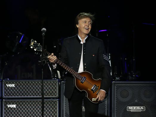 Paul McCartney performs on stage  at Prudential Center,
