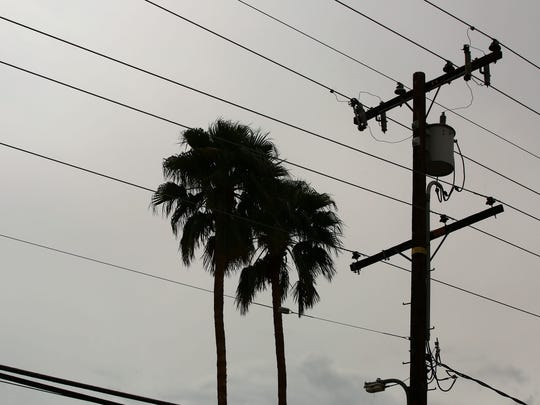 A utility pole and wires are silhouetted near two palm trees over a Palm Desert neighborhood Monday, April 11, 2016.