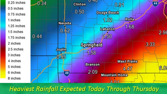 Heaviest rainfall expected Wednesday through Thursday, with Springfield possibly getting 1.58 inches of rain.