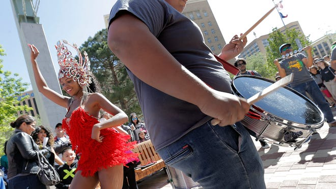 Samba Batucada provides a lively atmosphere during the San Jacinto Plaza Fiesta on Saturday. The celebration marked the official reopening of the plaza. See more photos at elpasotimes.com.