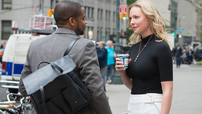 "Sadie Ellis (Katherine Heigl, right), a successful defense lawyer, confers with her colleague Albert Cobb (Dule Hill) on CBS' ""Doubt."""
