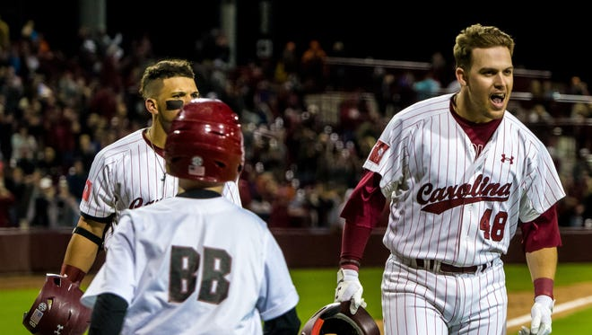 South Carolina Gamecocks infielder Matt Williams (48) celebrates his game-tying homer during the eighth inning against the Clemson Tigers at Founders Park.