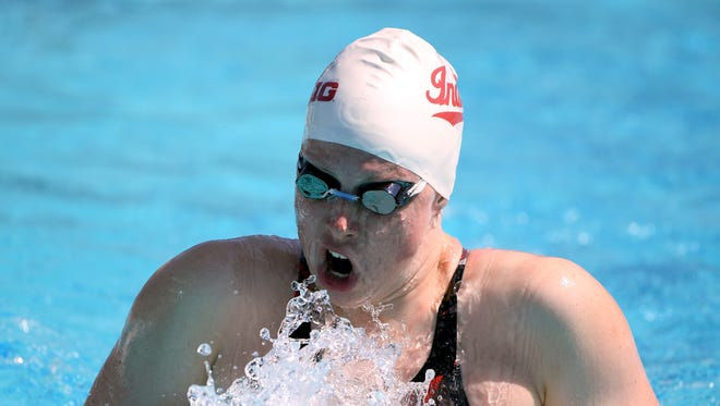 Lilly King swims in the Women 200 LC Breastroke Prelims during day 2 of the Phillips 66 National Swimming Championships at the Woollett Aquatics Center on July 26, 2018 in Irvine, Calif.