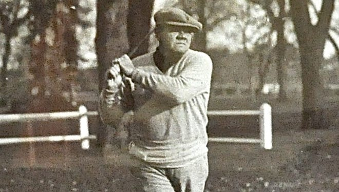 Babe Ruth follows through on a shot at the Leewood Golf Club in Eastchester, which was the only golf club to which he belonged. Just as in baseball, the Babe was recognized as a powerful, lefty hitter.