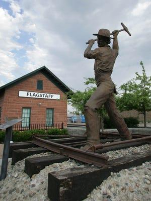 "The ""Gandy Dancer"" statue in downtown Flagstaff."