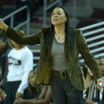 Nov 25, 2013; Los Angeles, CA, USA; South Carolina Gamecocks coach Dawn Staley reacts during the game against the Southern California Trojans at Galen Center. South Carolina defeated Southern California 70-50. Mandatory Credit: Kirby Lee-USA TODAY Sports