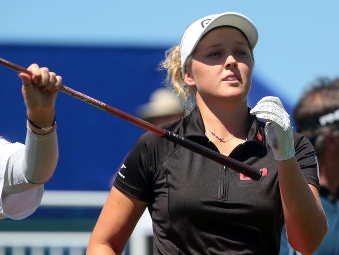 Canadian Brooke Henderson tees off on 10 during the