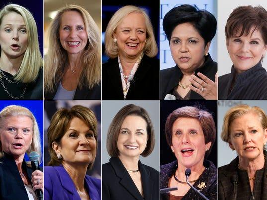 Marissa Mayer; Carol Meyrowitz; Meg Whitman; Indra Nooyi; Phebe Novakovic; Virginia Ginni Rometty; Marilyn Hewsom; Patricia Woertz; Irene Rosenfeld; Ellen Kullman