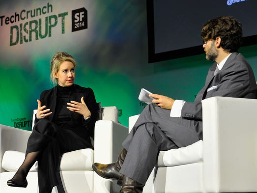Elizabeth Holmes and TechCrunch Writer and Moderator