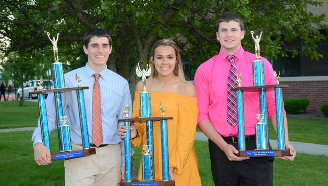 Edison Athletes of the Year, from left, Kevin Harmer, Leigha Jones and Adam Houghtling.