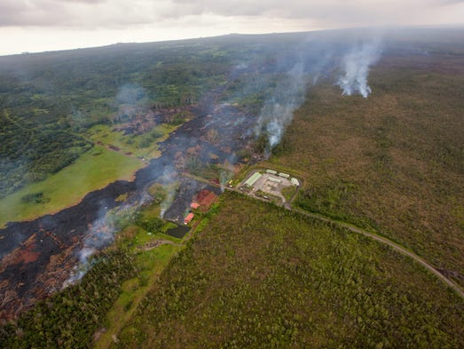Lava from Kilauea Volcano continues to threaten the