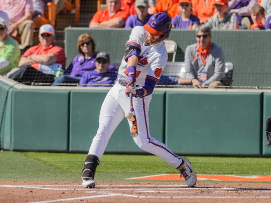 Clemson's Seth Beer at bat during the 1st inning against South Carolina on Sunday in Clemson's Doug Kingsmore Stadium.