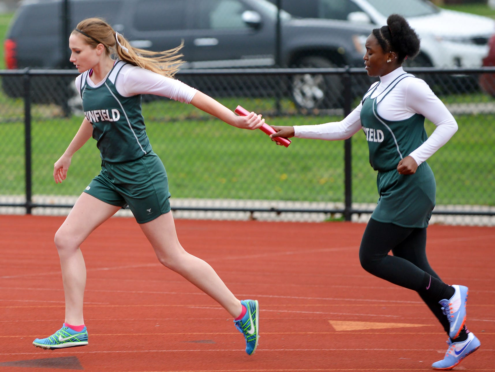 Pennfield participates in the 800 meter relay during Friday's 2016 All City Track Meet.
