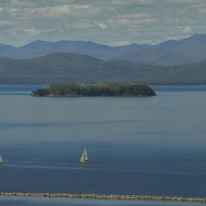 U.S. Coast Guard suspended a search of Lake Champlain for a boat near Valcour Island Saturday morning. This photo of the lake was taken in May.