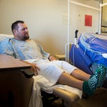 "Kevin Diepenbrock recalls his motorcycle accident and his rescue nearly 30 hours later while at the UT Medical Center on Monday, Oct. 24, 2016. Diepenbrock and his friend Phil Polito were riding their motorcycles on a stretch of U.S. Highway 129 known as ""The Dragon"" on Saturday, Oct. 22, when the two collided. The crash had flung both men 105 feet down an embankment and out of sight of passing vehicles."