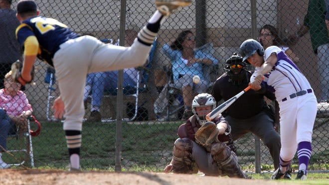 GMC baseball Senior All-Star game held at the North Brunswick Community Park in North Brunswick on Tuesday June 9,2015. Old Bridge High School's # 10 (right)- James Gabriel gets his bat on the ball for a double.