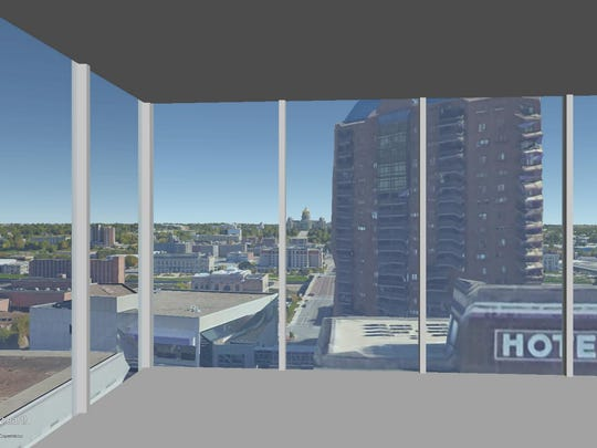 This is a rendering of the view on the 13th floor of The Fifth looking out the northeast corner.
