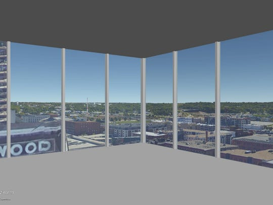 This is a rendering of the view on the 13th floor of The Fifth looking out the southeast corner.
