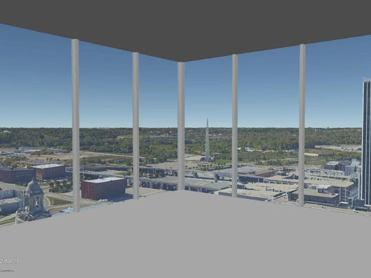 This is a rendering of the view on the 24th floor of The Fifth looking out the southwest corner.