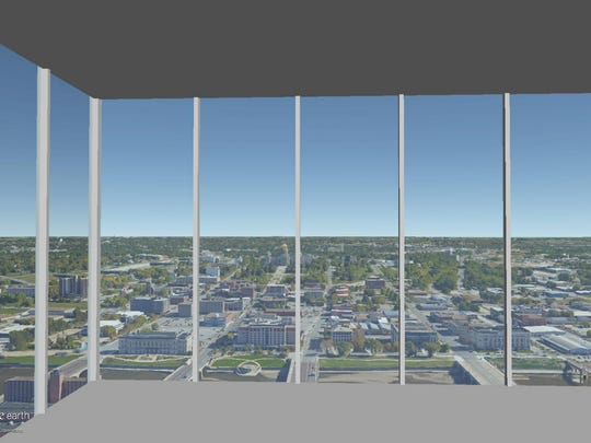 This is a rendering of the view on the 37th floor of The Fifth looking out the northeast corner.