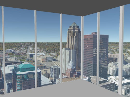 This is a rendering of the view on the 37th floor of The Fifth looking out the northwest corner.
