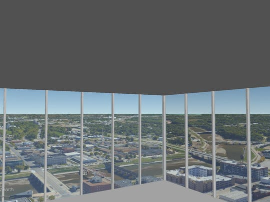 This is a rendering of the view on the 37th floor of The Fifth looking out the southeast corner.