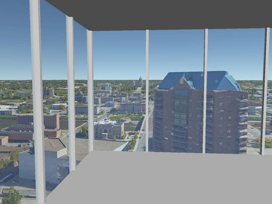 This is a rendering of the view on the 24th floor of The Fifth looking out the northeast corner.