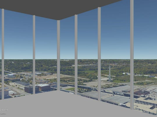 This is a rendering of the view on the 37th floor of The Fifth looking out the southwest corner.