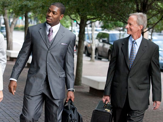 """Jonathan Vilm (left) and his attorney Peter Ginsberg during """"Bountygate."""""""