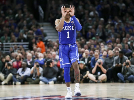 Duke guard Trevon Duval gestures from the middle of