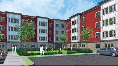 An artist's rendering of the redevelopment of the Barbara Jordan II apartments in South Providence, a boost to affordable housing in the works. Rhode Island Housing awarded the contract to Omni Development Corp. in conjunction with Wingate Companies last month.