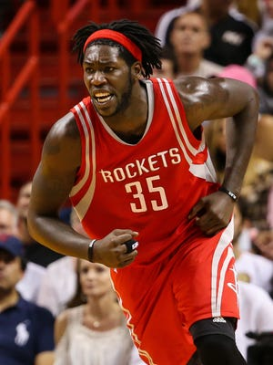 Nov 1, 2015; Miami, FL, USA; Houston Rockets forward Montrezl Harrell (35) reacts after dunking the ball during the second half against the Miami Heat at American Airlines Arena. The Heat won 109-89. Mandatory Credit: Steve Mitchell-USA TODAY Sports
