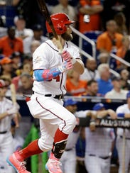 National League's Washington Nationals Bryce Harper