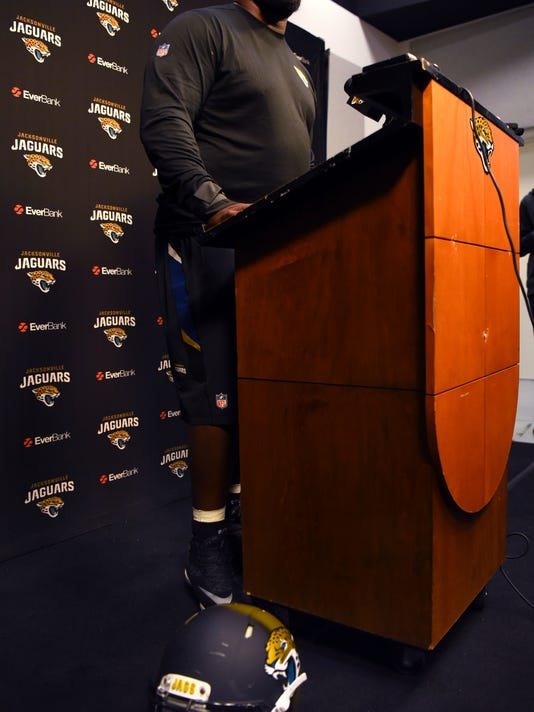 On Monday Oct. 30, 2017 newly acquired Jacksonville Jaguars defensive tackle Marcell Dareus spoke to the media about his departure from the Buffalo Bills and, with his helmet sitting on the floor beside him, his day of practice with the Jaguars. The interview took place in the TV studio in EverBank Field in Jacksonville, Fla. (Bob Mack/Florida Times-Union via AP)