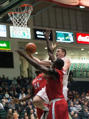 Binghamton University forward Bobby Ahearn makes a layup during BU's 62-52 home loss to Stony Brook on Wednesday, Jan. 6, 2016. Ahearn paced the Bearcats with 13 points in the loss which dropped Binghamton to 3-11 on the season.