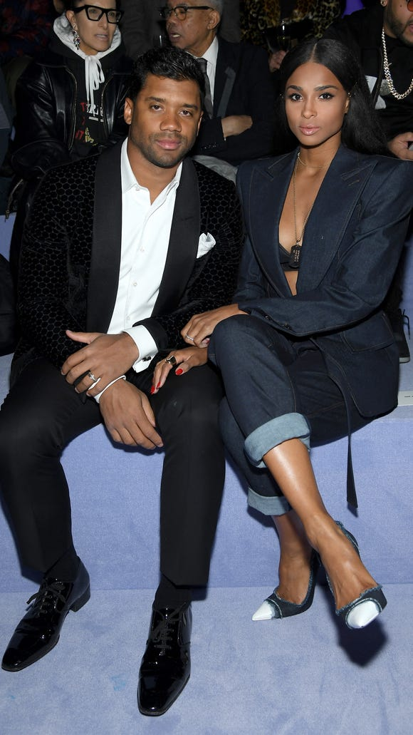 Russell Wilson and Ciara in the front row.