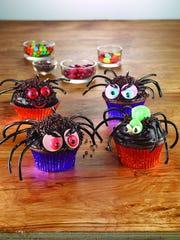 Creepy crawly spider cupcakes use black licorice for legs.