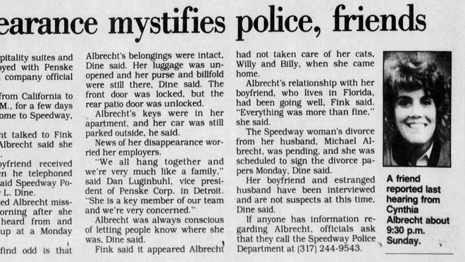 A story about Cynthia Albrecht in the Oct. 30, 1992 edition of The Indianapolis Star.