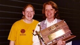 Pam (Johnson) Murra (right) has been posthumously inducted into the Roosevelt High School Athletic Hall of Fame.