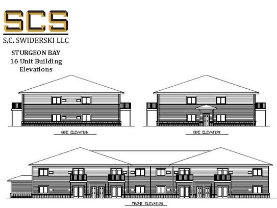 Initial schematic drawings of proposed apartment buildings.
