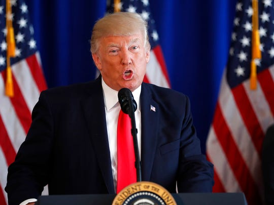 President Donald Trump speaks about the ongoing situation in Charlottesville, Va., at Trump National Golf Club, Saturday, Aug. 12, 2017, in Bedminster, N.J. (AP Photo/Pablo Martinez Monsivais)
