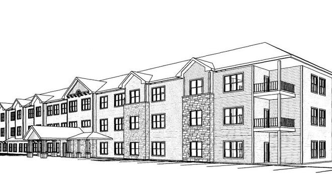 A drawing shows Fortitude Senior Living of St. Joseph, an apartment complex proposed in Graceview Estates.